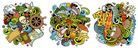 Haiti cartoon vector doodle designs set. Colorful detailed compositions with lot of Exotic islands objects and symbols. Isolated on white illustrations