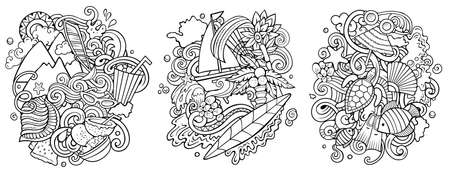 Mauritus cartoon vector doodle designs set. Sketchy detailed compositions with lot of Exotic island objects and symbols. Isolated on white illustrations