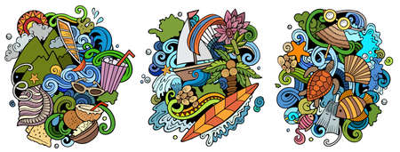 Mauritus cartoon vector doodle designs set. Colorful detailed compositions with lot of Exotic island objects and symbols. Isolated on white illustrations Иллюстрация
