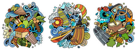 Maldives cartoon vector doodle designs set. Colorful detailed compositions with lot of Exotic island objects and symbols. Isolated on white illustrations Иллюстрация