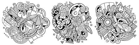 Peru cartoon vector doodle designs set. Sketchy detailed compositions with lot of Peruvian objects and symbols. Isolated on white illustrations Иллюстрация