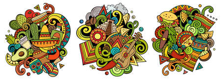 Mexico cartoon vector doodle designs set. Colorful detailed compositions with lot of Mexican objects and symbols. Isolated on white illustrations Иллюстрация