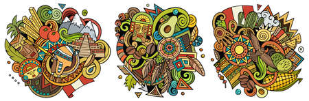 Peru cartoon vector doodle designs set. Colorful detailed compositions with lot of Peruvian objects and symbols. Isolated on white illustrations