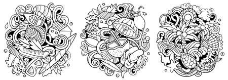 Seychelles cartoon vector doodle designs set. Sketchy detailed compositions with lot of Exotic island objects and symbols. Isolated on white illustrations Иллюстрация