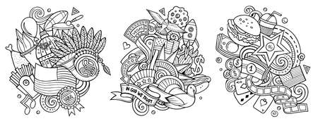 USA cartoon vector doodle designs set. Sketchy detailed compositions with lot of American objects and symbols. Isolated on white illustrations