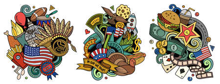 USA cartoon vector doodle designs set. Colorful detailed compositions with lot of American objects and symbols. Isolated on white illustrations