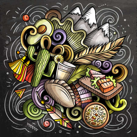 Chile cartoon vector doodle chalkboard illustration. Colorful detailed composition with lot of Chilean objects and symbols Иллюстрация