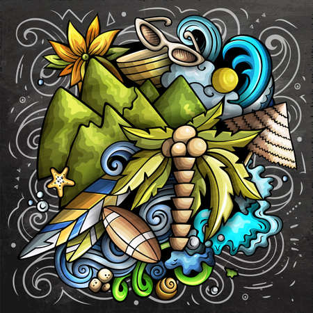 Figi cartoon vector doodle chalkboard illustration. Colorful detailed composition with lot of Exotic island objects and symbols. Иллюстрация