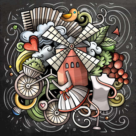 France cartoon vector doodle chalkboard illustration. Colorful detailed composition with lot of French objects and symbols.