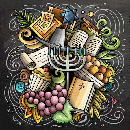 Israel cartoon vector doodle chalkboard illustration. Colorful detailed composition with lot of Israeli objects and symbols.