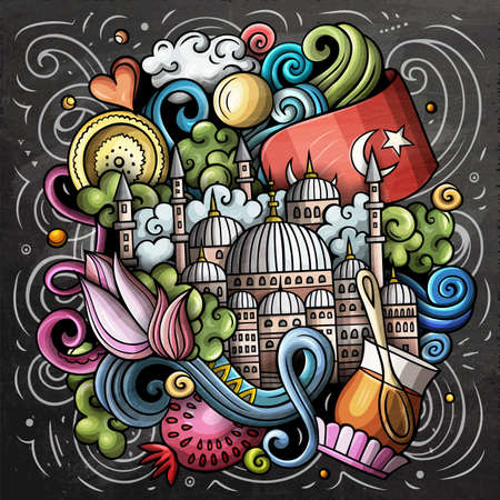 Istanbul cartoon vector doodle chalkboard illustration. Colorful detailed composition with lot of Turkish objects and symbols. Иллюстрация