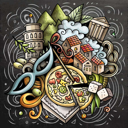 Italy cartoon vector doodle chalkboard illustration. Colorful detailed composition with lot of Italian objects and symbols
