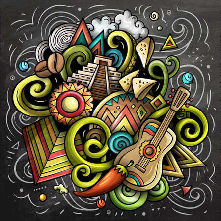 Mexico cartoon vector doodle chalkboard illustration. Colorful detailed composition with lot of Mexican objects and symbols. Иллюстрация