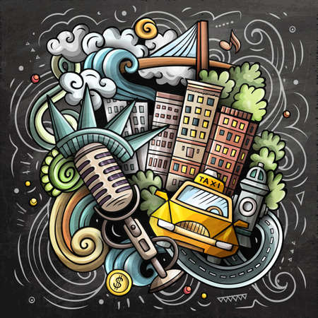 New York cartoon vector doodle chalkboard illustration. Colorful detailed composition with lot of USA objects and symbols.
