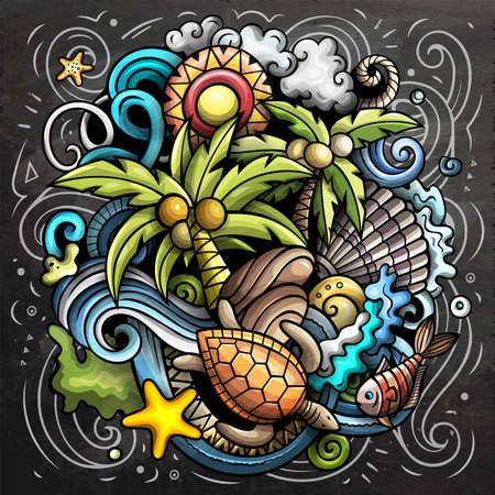 Seychelles cartoon vector doodle chalkboard illustration. Colorful detailed composition with lot of Exotic island objects and symbols.