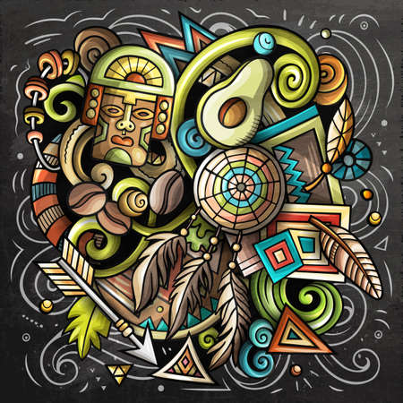 Peru cartoon vector doodle chalkboard illustration. Colorful detailed composition with lot of Peruvian objects and symbols.