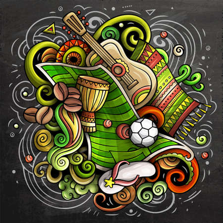 Brazil cartoon vector doodle chalkboard illustration. Colorful detailed composition with lot of Brazilian objects and symbols