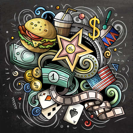 USA cartoon vector doodle chalkboard illustration. Colorful detailed compositions with lot of American objects and symbols. Иллюстрация