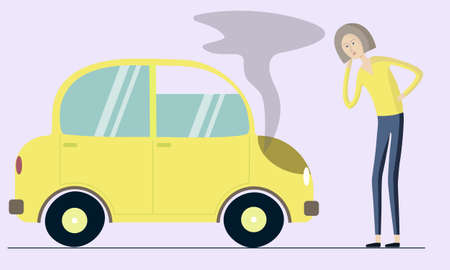 vector yellow car broke down. girl driver thinks. flat and cartoon style