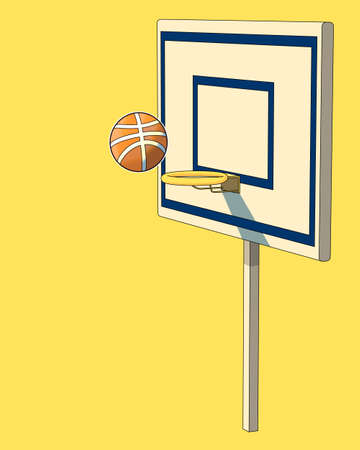 vector cartoon basketball. Doodle basketball ring on a yellow background.