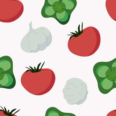 vector seamless pattern with vegetables. background with pepper, tomato, and garlic. for packaging, menu and fabric design. vegetarian and vegan style.