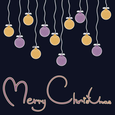vector new year craft background. happy new year. Merry Christmas. blue Board with inscriptions and hanging balls.