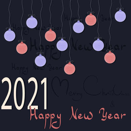 vector new year background. happy new year. Merry Christmas. blue Board with inscriptions and hanging balls.