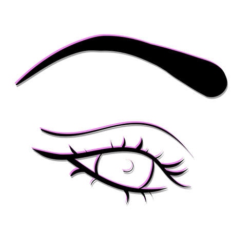 vector illustration of eyes and eyebrows. linear drawing symbol for beauty services. Vettoriali