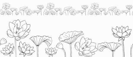 vector seamless border of Lotus flowers and leaves. minimalistic Zen style. Beautiful monochrome vector floral frame with lotus flowers and leaves in graphic style. Illustration