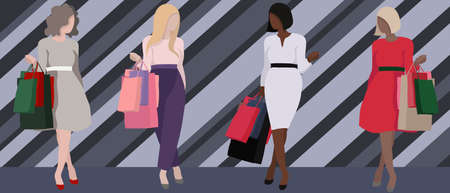 vector set of women with shopping. bright and contrasting illustrations of girls with packages from the store.