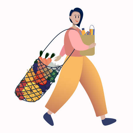 a female customer bought vegetables, fruits, medicines, vitamins, a thermometer and a medical mask. a girl buys vitamins for her health. Vector Illustratie