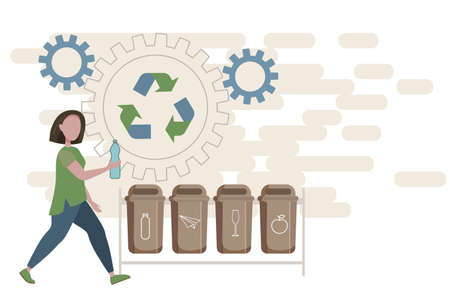 vector concept illustration of garbage sorting. the girl throws a plastic bottle into a trash container. conscious consumption, environmental protection. Ilustração
