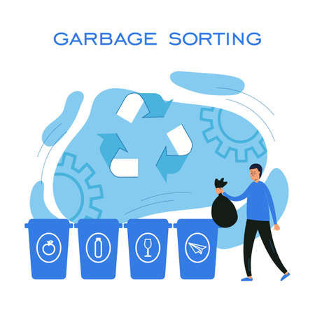 vector concept illustration of garbage sorting. flat illustration with a man throwing out garbage. conscious consumption and care for the environment.