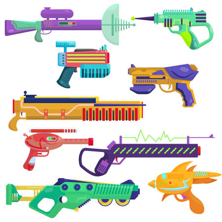 Vector set of blasters. Bright blasters in a cartoon style. Colorful weapons for computer games. Children's guns to play with. alien energy weapons.
