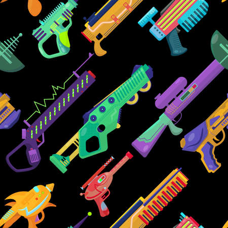 vector seamless pattern with blasters. beautiful conceptual illustration of children's toys. print for boys. futuristic weapons template.