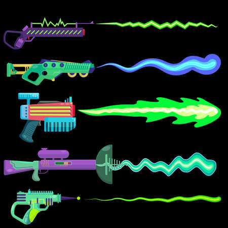 vector illustration of blasters shooting a beam. concept drawing of alien weapons. plasma shot. colorful unusual weapons for children. objects on a black background for computer games.