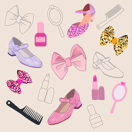 Vector set of accessories for girls. Cute bows, lipstick, shoes. A set of contoured and colored items. beautiful and delicate things.