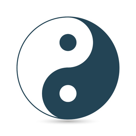 yin y yan: Icon of Yin and Yang, dark outline on a white background, vector image.