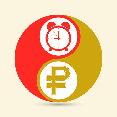 The business concept of Time is money. The Yin-Yang sign. Vector. Illustration