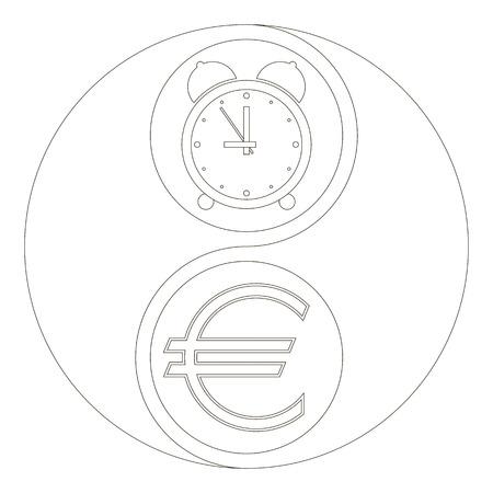 Das Geschäftskonzept Von ?Zeit Ist Geld?. Die Yin-Yang-Zeichen ...
