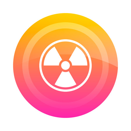 radioactive warning symbol: Button badge radiation, vector image. Colored button with the sign of radiation danger in the center. Icon.