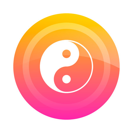 Button Yin Yang, vector image. Colored button with the sign of Yin-Yang in the center. Icon.