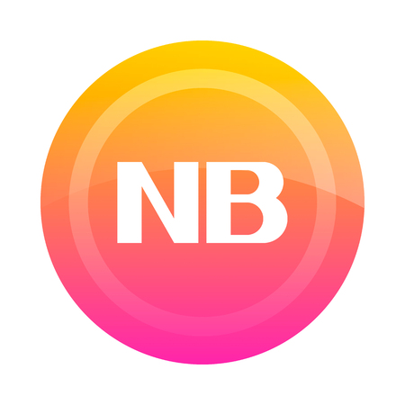 bene: The NB button (note). Vector illustration. Dark outline on a white background. Icon, sign, symbol.