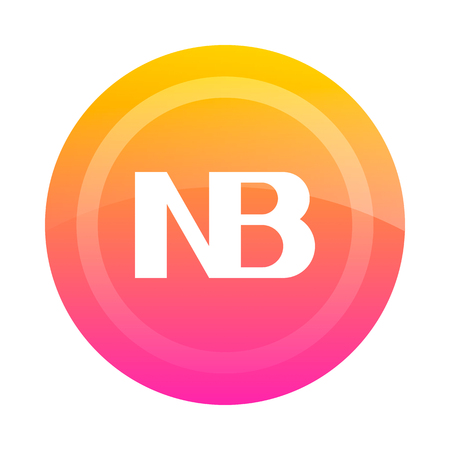 The NB button (note). Vector illustration. Dark outline on a white background. Icon, sign, symbol.