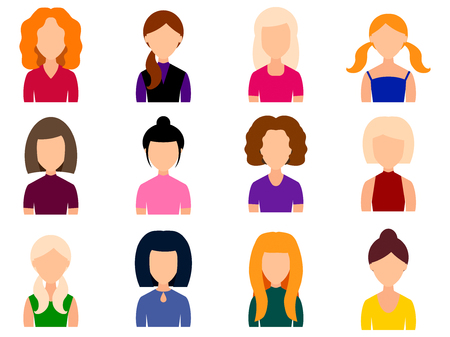 Avatars girls with different hairstyles in your everyday clothes. Icons set in flat style. Vector illustration. Stock Photo