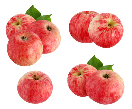 Red striped apples isolated on a white background. A set of images from one, two, and three apples with leaves and without.