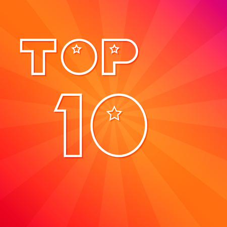 The inscription Top 10, a white outline against a bright background. Vector illustration.