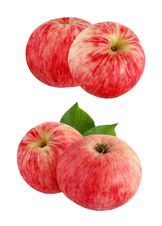 Red striped apples isolated on a white background. Two apples with leaves and without.