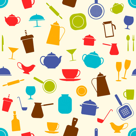 Seamless background with kitchen utensils, vector illustration. Cooking, drink, kitchen accessories. Good background for wrapping paper, fabric, website or store. Illustration