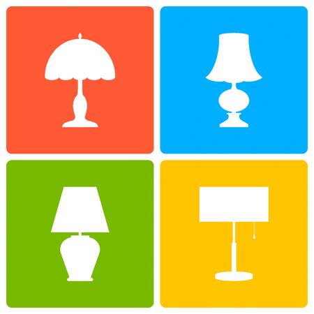 bedside: Table or bedside lamp, a set of icons. Vector illustration.